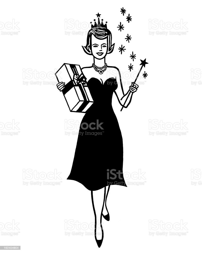 Woman Holding Gift and Wand vector art illustration