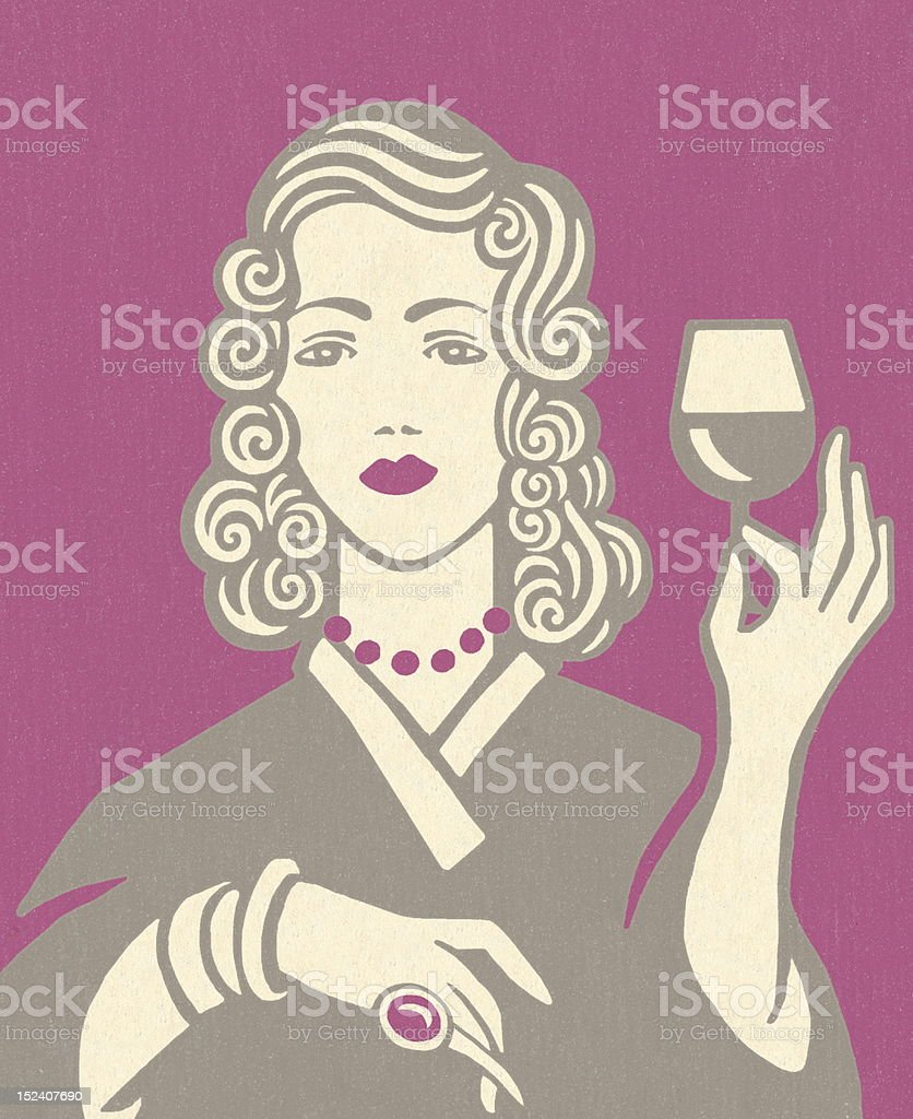 Woman Holding Glass of Wine royalty-free stock vector art
