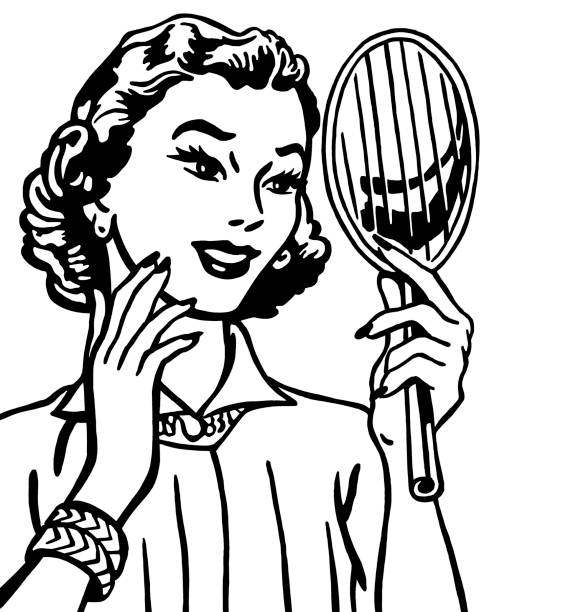 Woman Holding Mirror Clipart