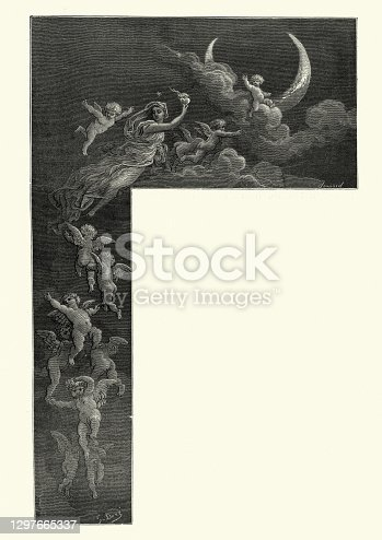 istock Woman holding heart on fire, taken to moon by angels, Medieval fantasy 1297665337