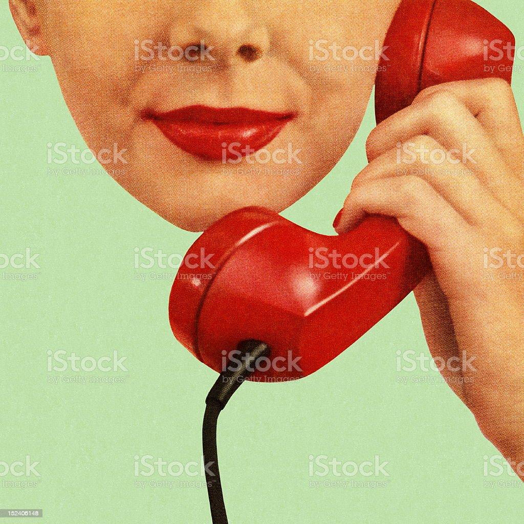 Femme tenant le téléphone rouge à entendre oreille - Illustration vectorielle