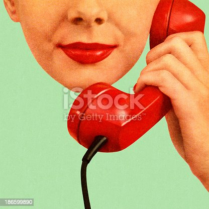 Woman Holding Red Phone to Her Ear