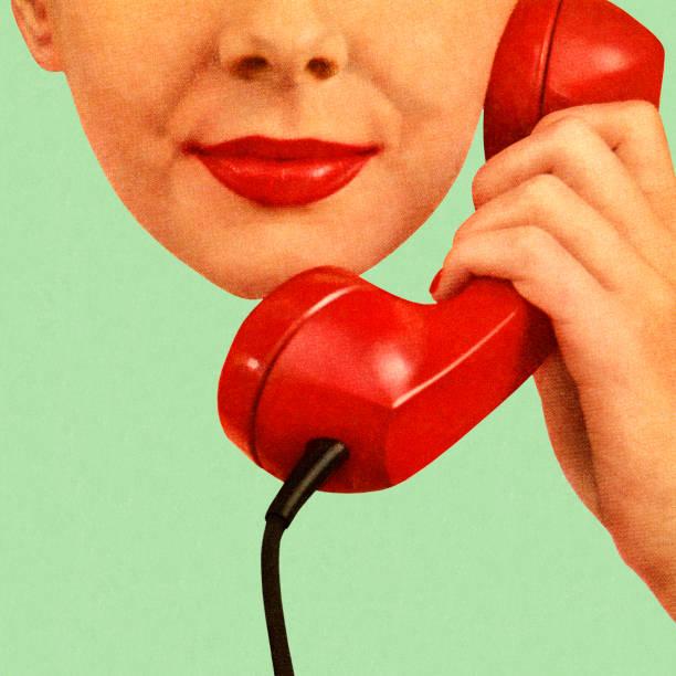 kobieta trzymając czerwony telefon na jej do ucha - język otwór gębowy stock illustrations