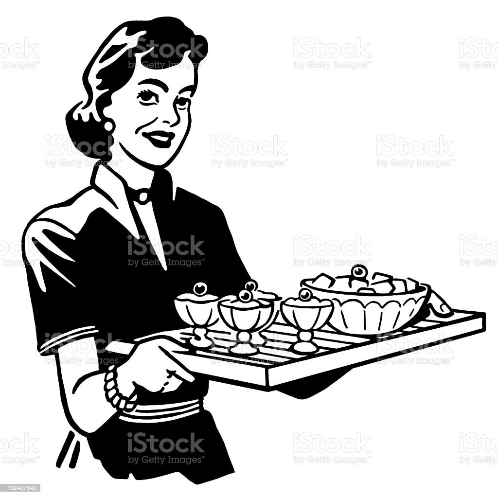 Woman Holding Tray of Food royalty-free stock vector art