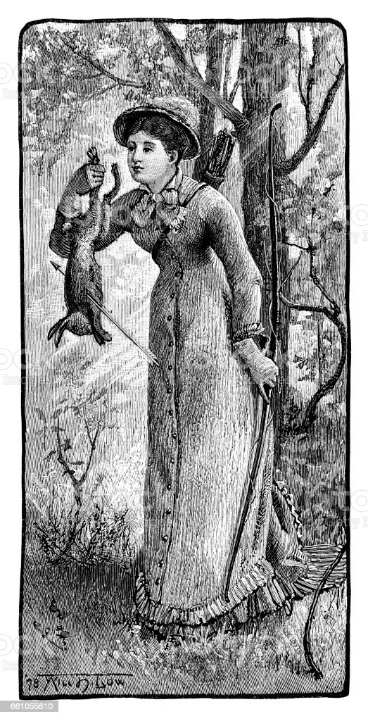 Woman Hunter holding her catch vector art illustration