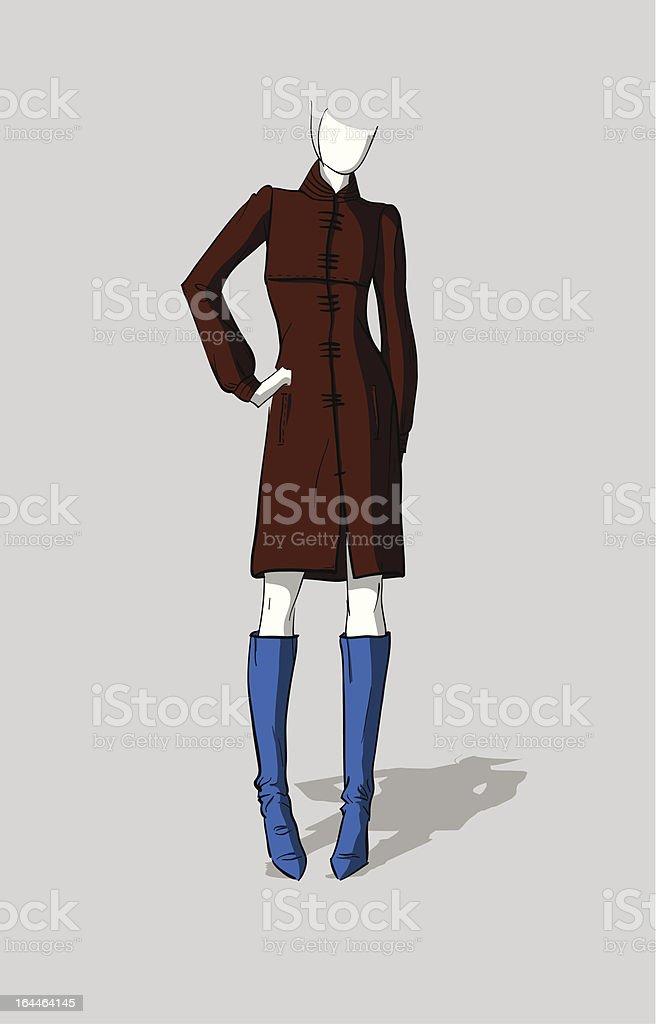 女性の秋のロングコート イラストレーションのベクターアート素材や