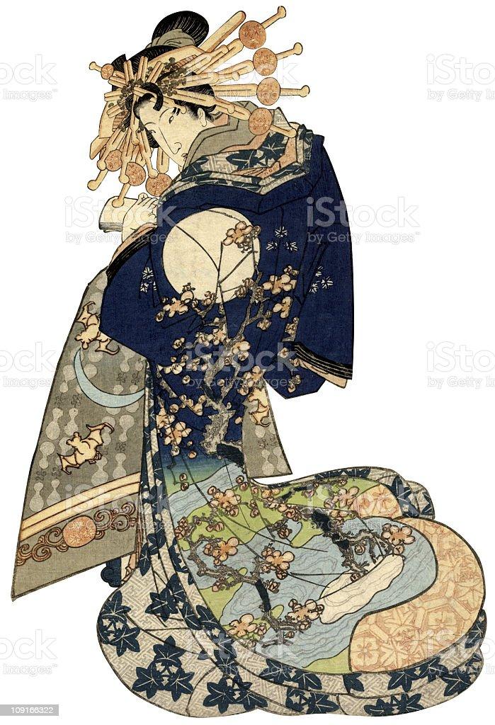 Frau in einer traditionellen japanischen Kimono - Lizenzfrei 19. Jahrhundert Stock-Illustration