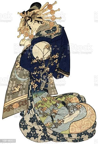 Frau In Einer Traditionellen Japanischen Kimono Stock Vektor Art und mehr Bilder von 19. Jahrhundert