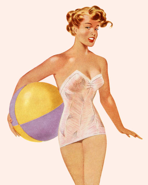 Woman in Bathing Suit Holding a Beach Ball Woman in Bathing Suit Holding a Beach Ball pin up girl stock illustrations