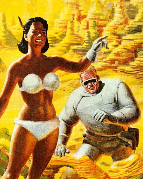 Woman in Bikini Leading Spaceman vector art illustration