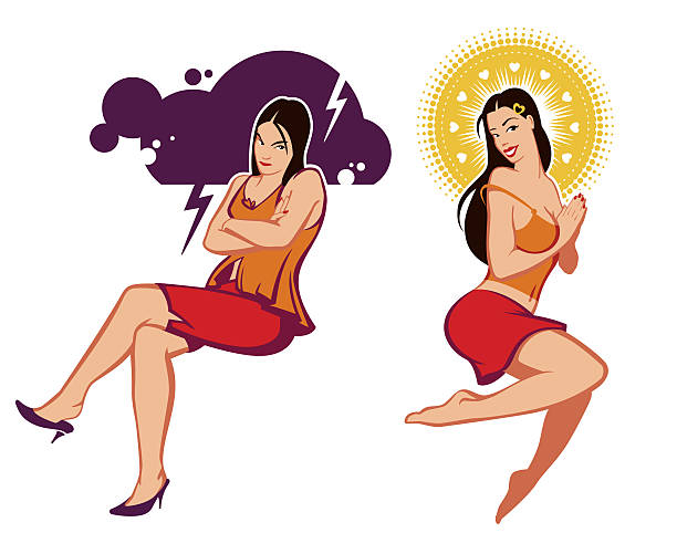 Woman in different moods  forked lightning stock illustrations