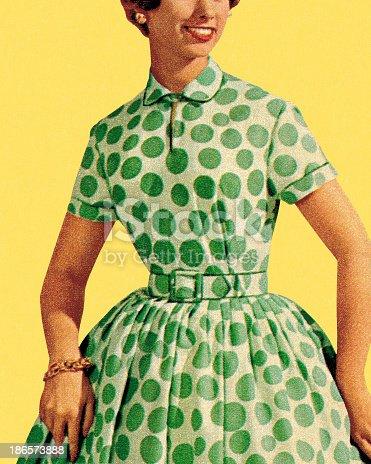 istock Woman in Green Polka Dot Dress 186573888