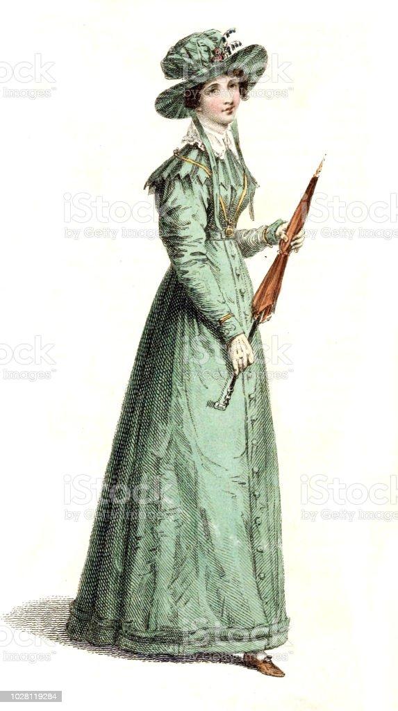 Spiksplinternieuw Vrouw In Oude Jurk Stockvectorkunst en meer beelden van Alleen HW-91