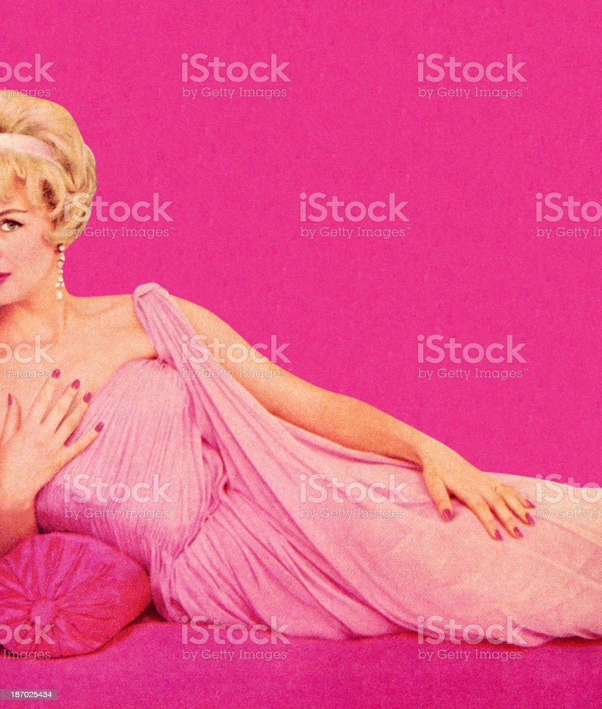 Woman in Pink Dress Reclining vector art illustration