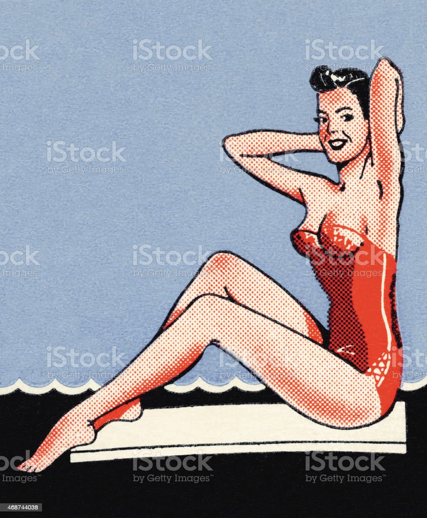 Woman in red swimsuit vector art illustration