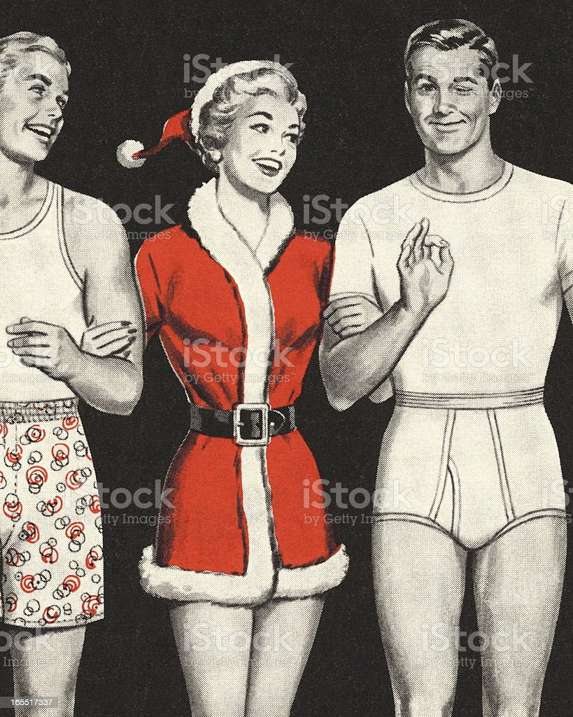 Woman in Santa Outfit with Two Men in Underwear vector art illustration