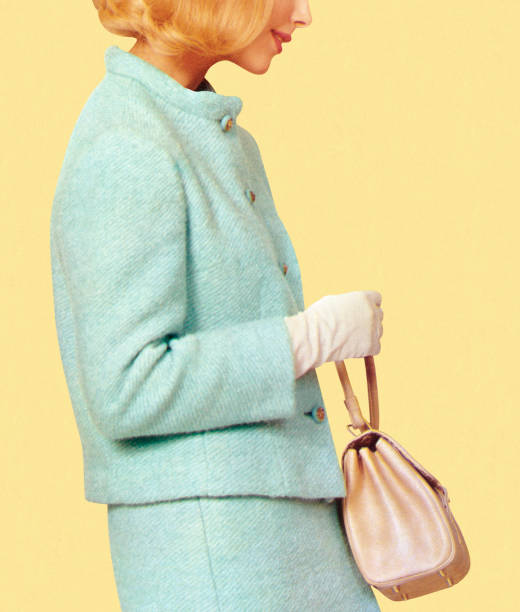 A woman in vintage blue suit holding a purse Woman in Blue Suit Holding Purse formal glove stock illustrations