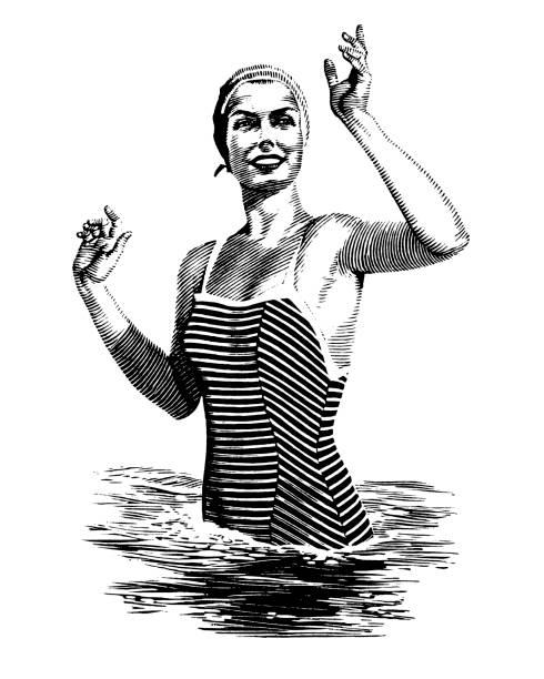 Woman in Water Waving Woman in Water Waving wading stock illustrations