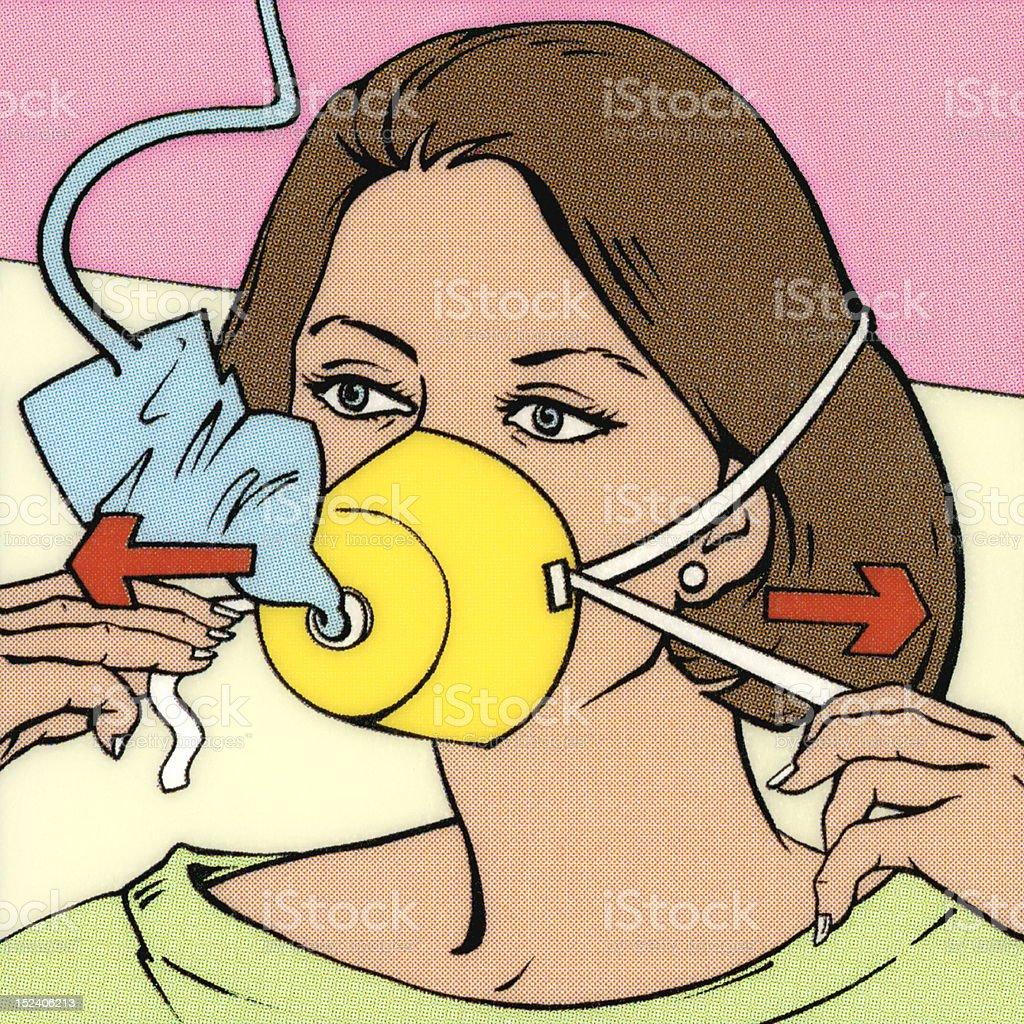 Woman Inflating Oxygen Mask vector art illustration