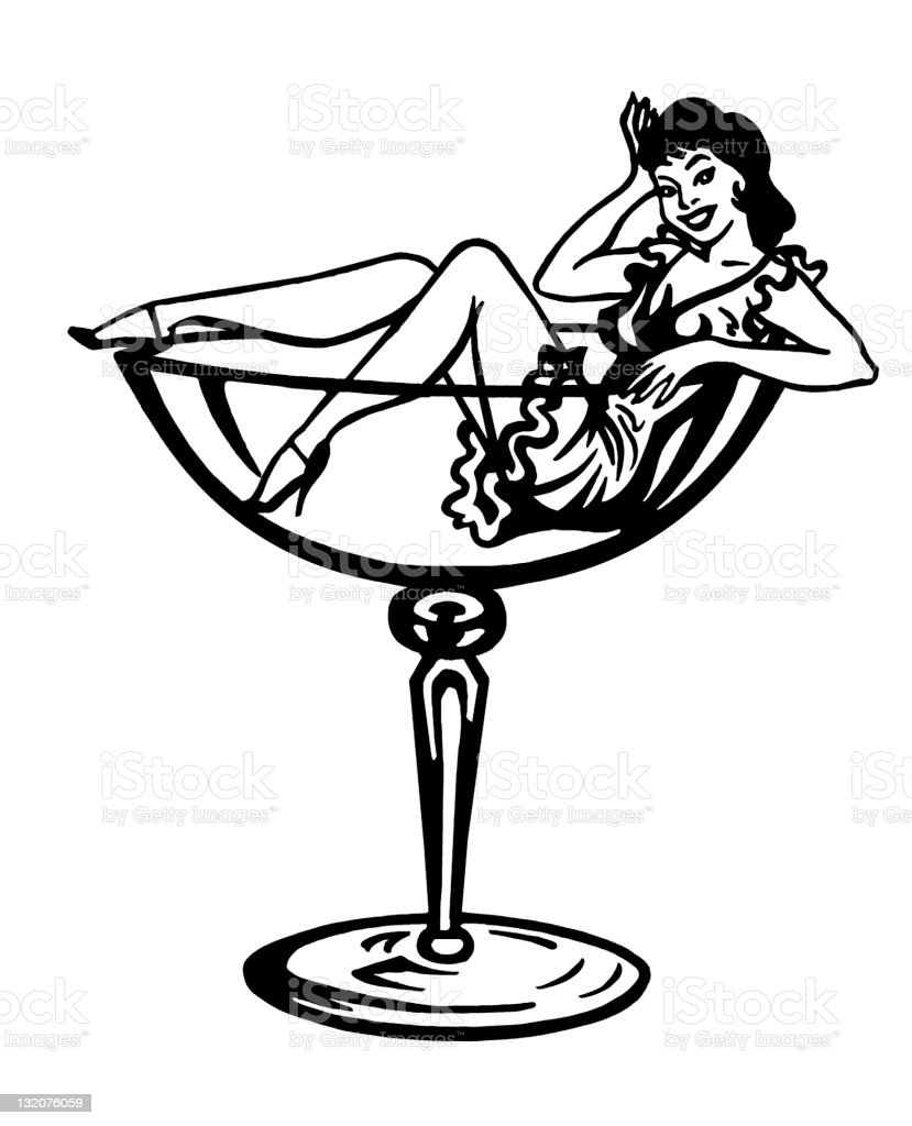 Woman Inside Cocktail Glass Stock Vector Art & More Images