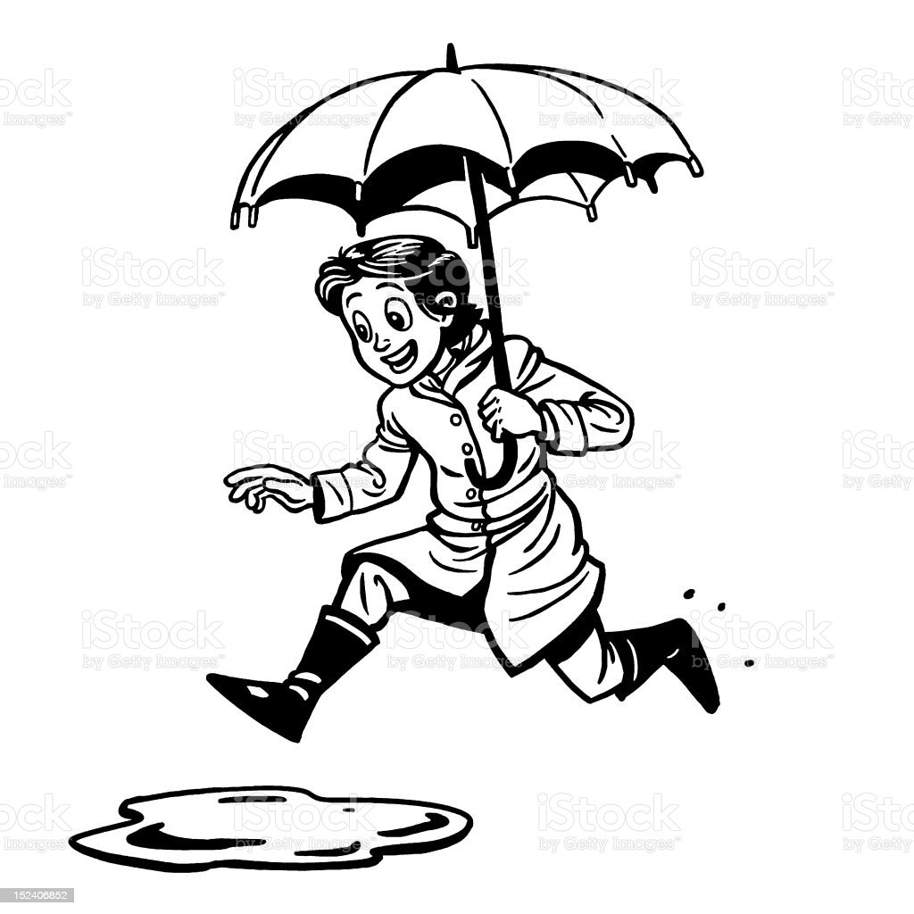 Woman Jumping in Puddle royalty-free stock vector art