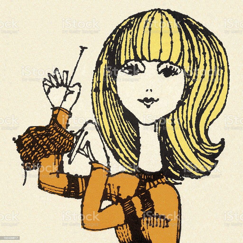 Woman Knitting royalty-free stock vector art
