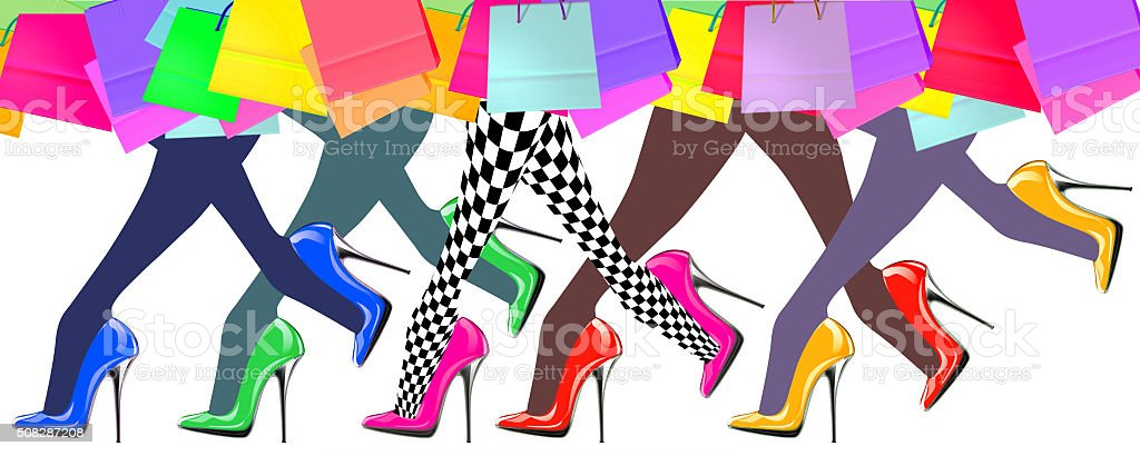 woman legs with high heel shoes and shopping bags vector art illustration