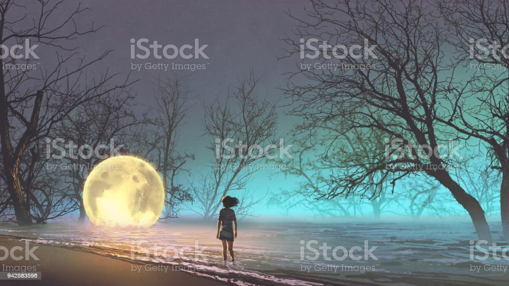 woman looking at a fallen moon vector art illustration