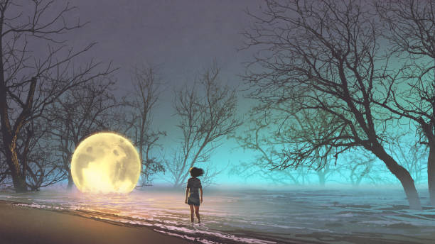 illustrazioni stock, clip art, cartoni animati e icone di tendenza di woman looking at a fallen moon - solo una donna giovane