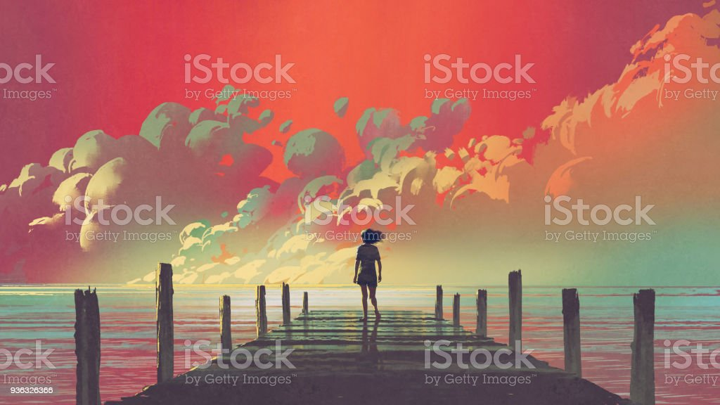woman looking at colorful clouds in the sky vector art illustration