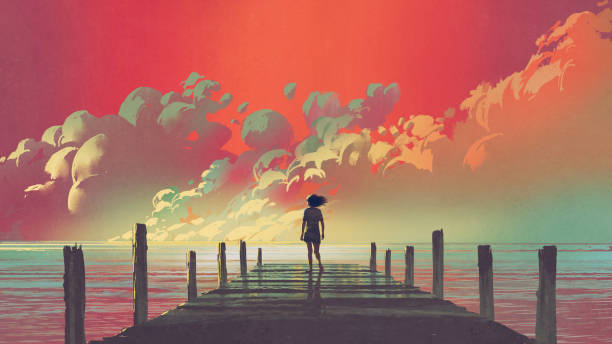 woman looking at colorful clouds in the sky - adults only stock illustrations