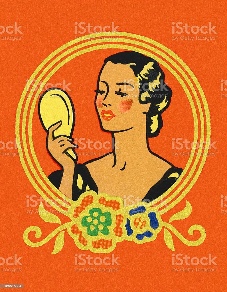 Woman Looking in a Mirror royalty-free stock vector art