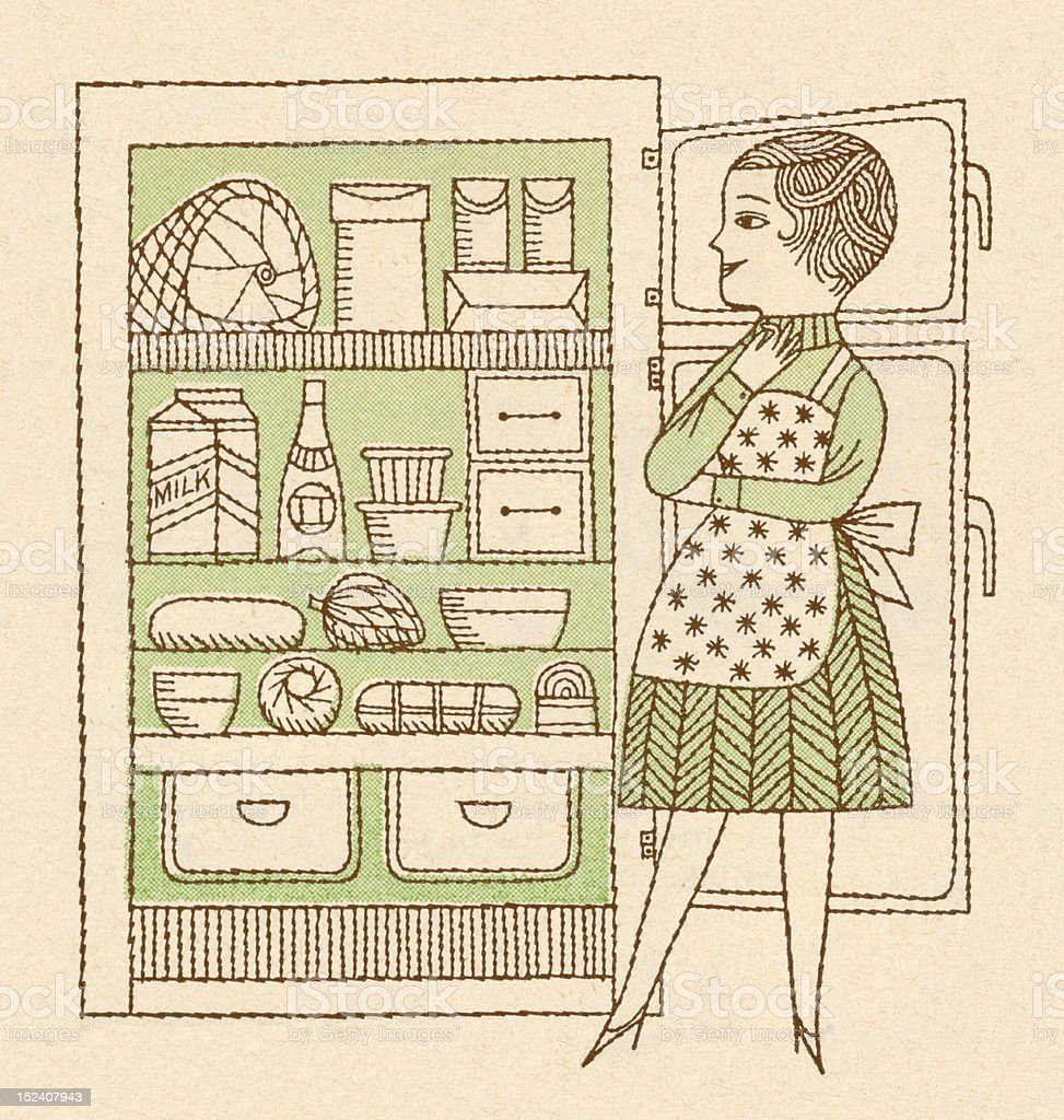 Woman Looking Inside Refrigerator royalty-free stock vector art