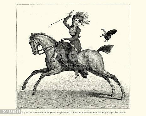 Vintage engraving of a Woman losing her hat while riding a horse, France early 19th Century. L'inconvénient de porter des perruques