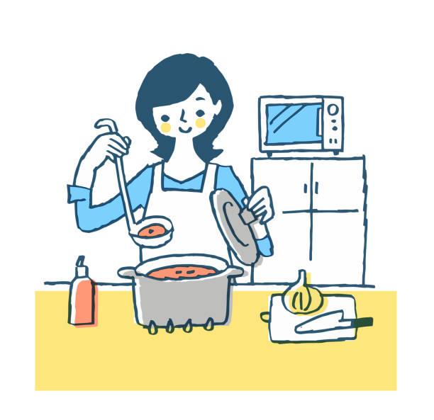 キッチンでスープを作る女性 - 主婦 日本人点のイラスト素材/クリップアート素材/マンガ素材/アイコン素材