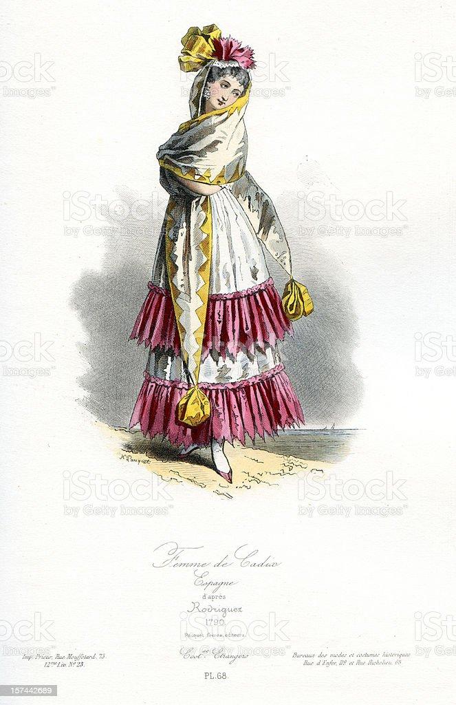 Woman of Cadiz Traditional Costume royalty-free stock vector art