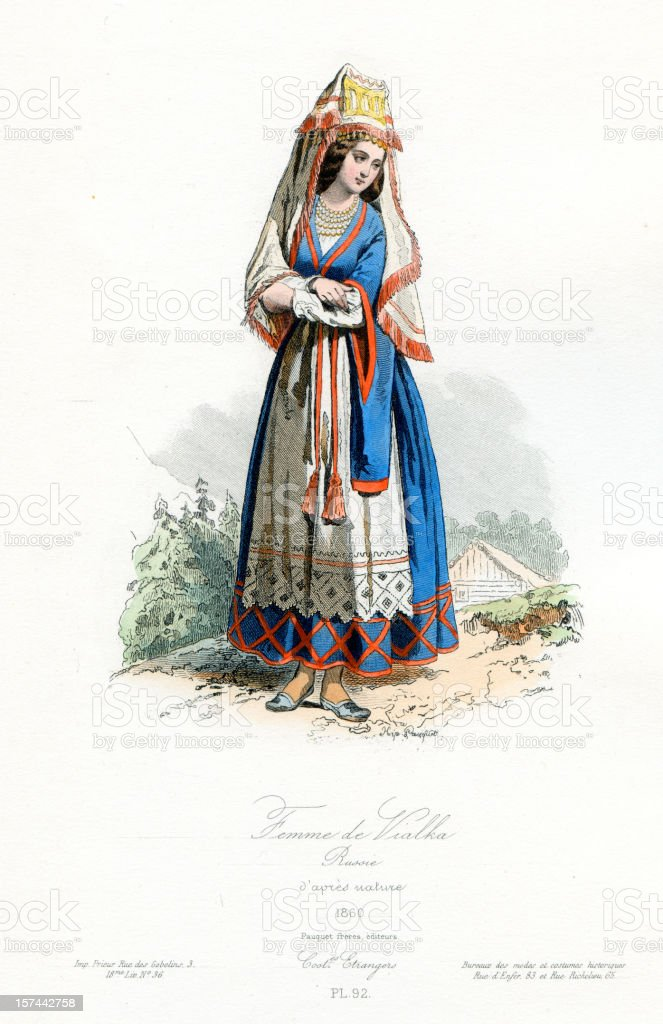 Woman of Vialka Russia Period Costume royalty-free woman of vialka russia period costume stock vector art & more images of 18-19 years