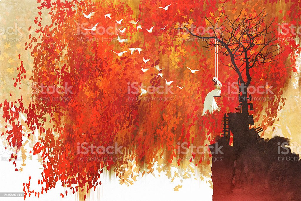 woman on a swing under autumn tree royalty-free woman on a swing under autumn tree stock vector art & more images of acrylic painting
