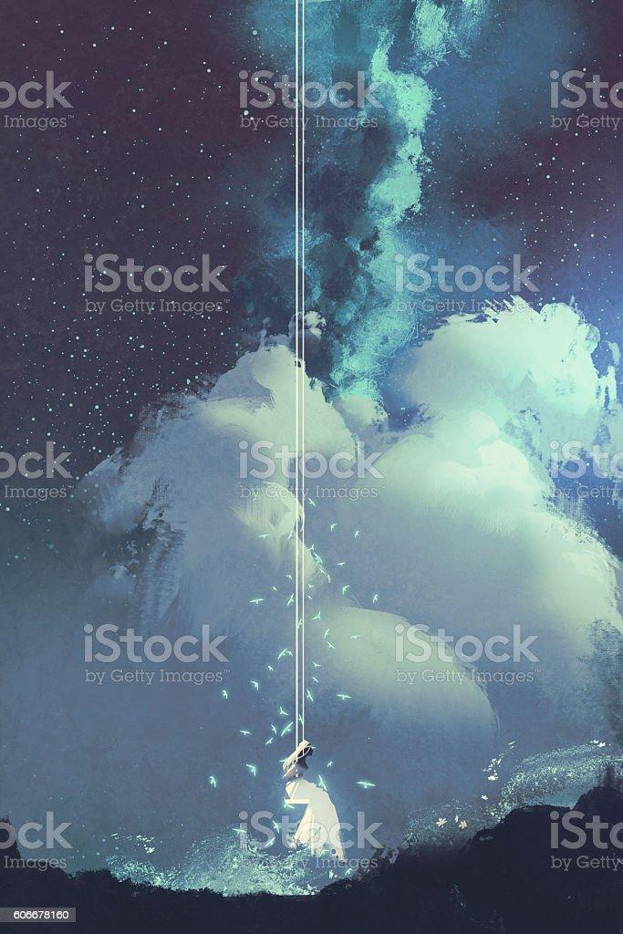 woman on a swing under night sky vector art illustration