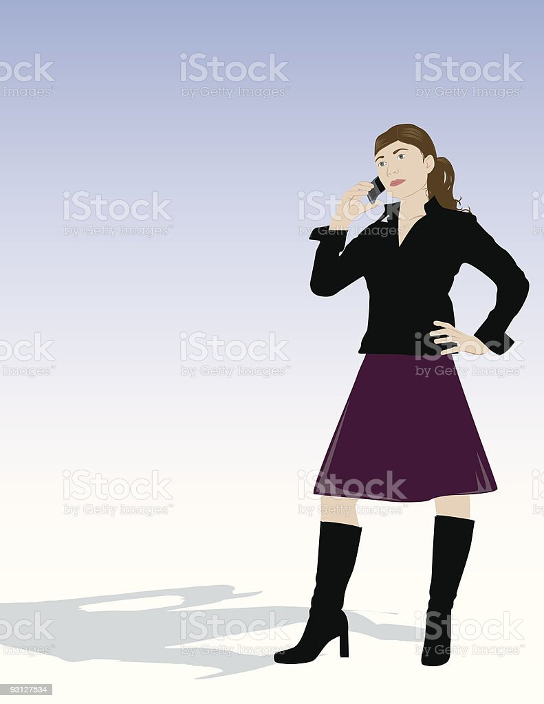 Woman on Cell phone royalty-free stock vector art
