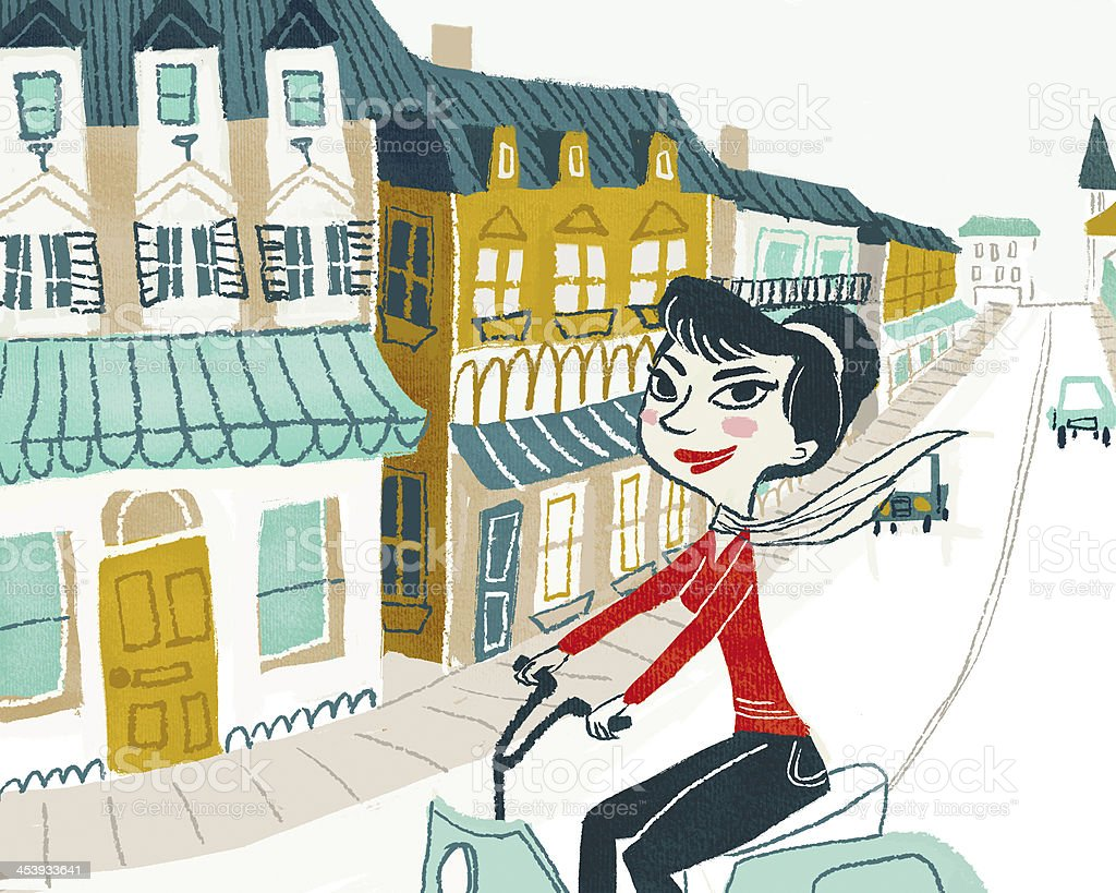 Woman on Moped Scooter in the City vector art illustration