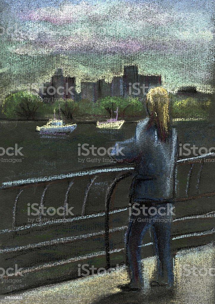 Woman on the coast vector art illustration