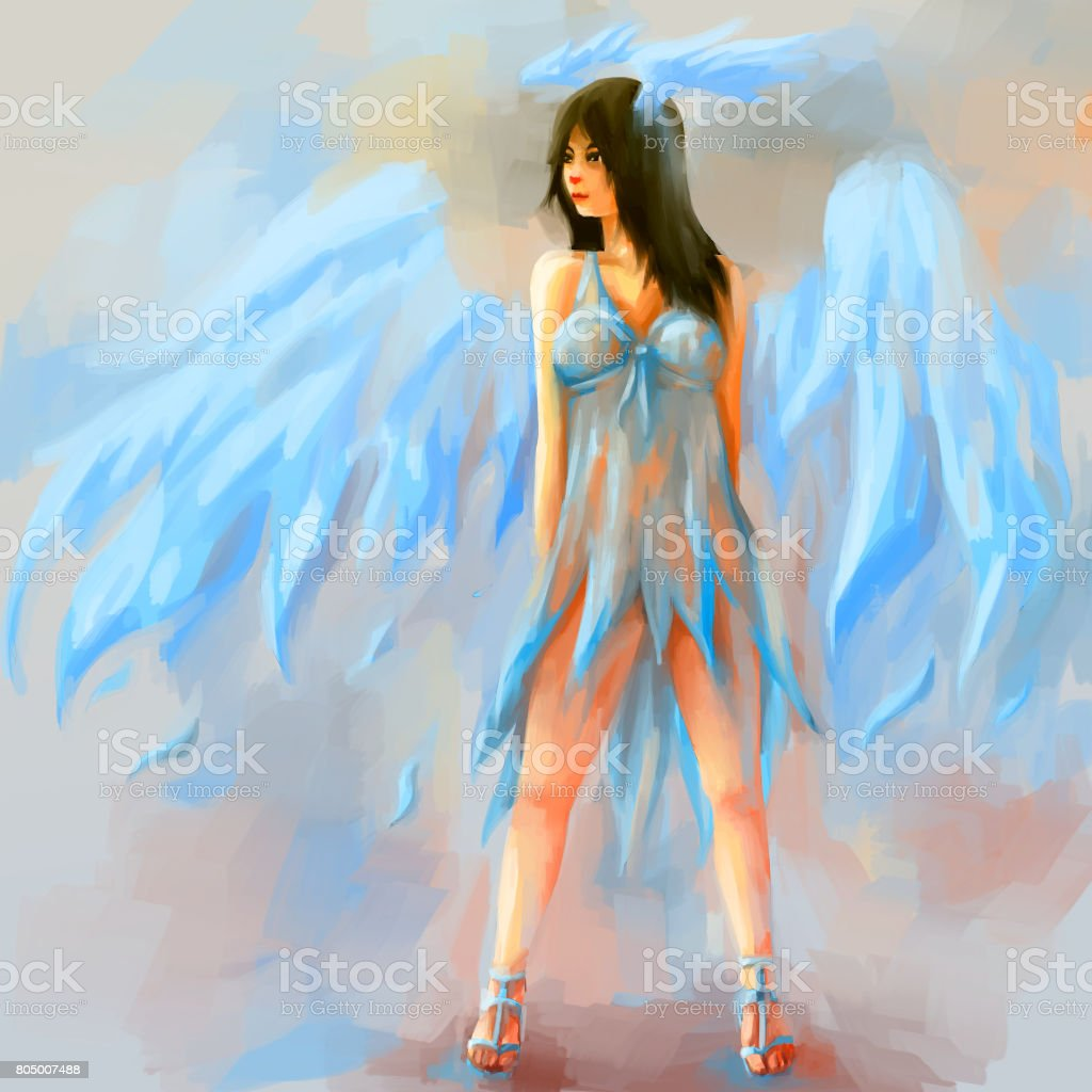 woman painting angel vector art illustration