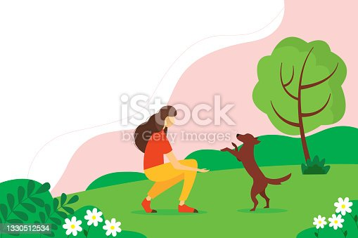 istock Woman playing with a dog in the Park. Concept illustration of outdoor recreation. Summer illustration in flat style. 1330512534