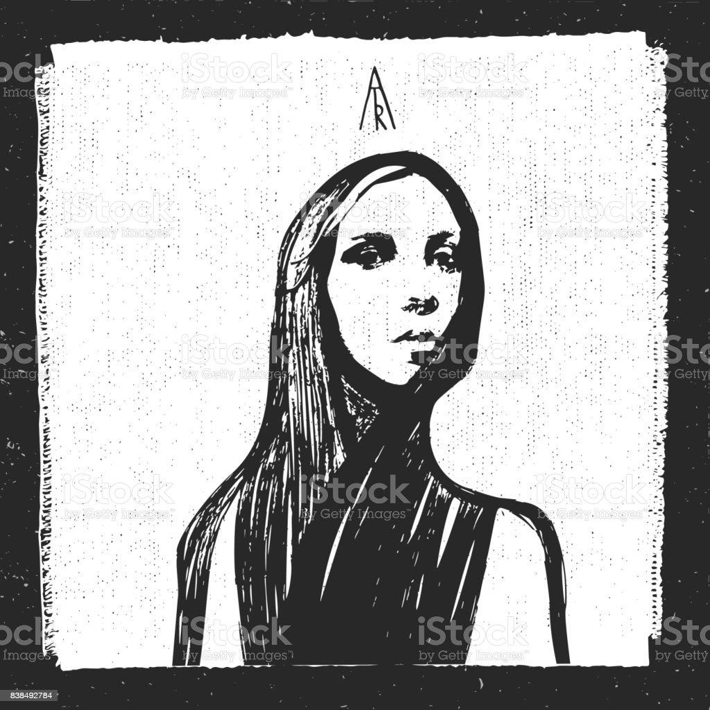 Dessin Noir Et Blanc Trace Au Crayon Graphique Portrait Femme Stock