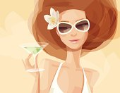 """""""Illustration of a woman. Woman, flower and background are grouped and layered separately."""""""