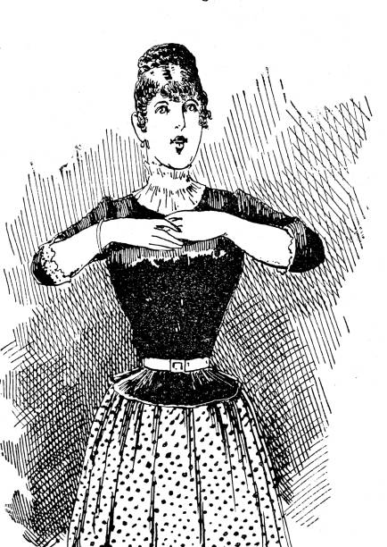 ilustrações de stock, clip art, desenhos animados e ícones de woman portrait in evening dress, waist up, with hands on breast - mão no peito