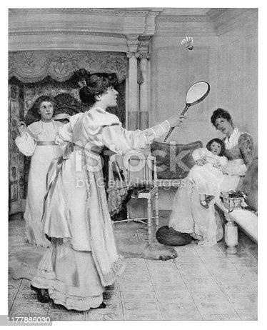 Woman Practicing Badminton - Scanned 1894 Engraving