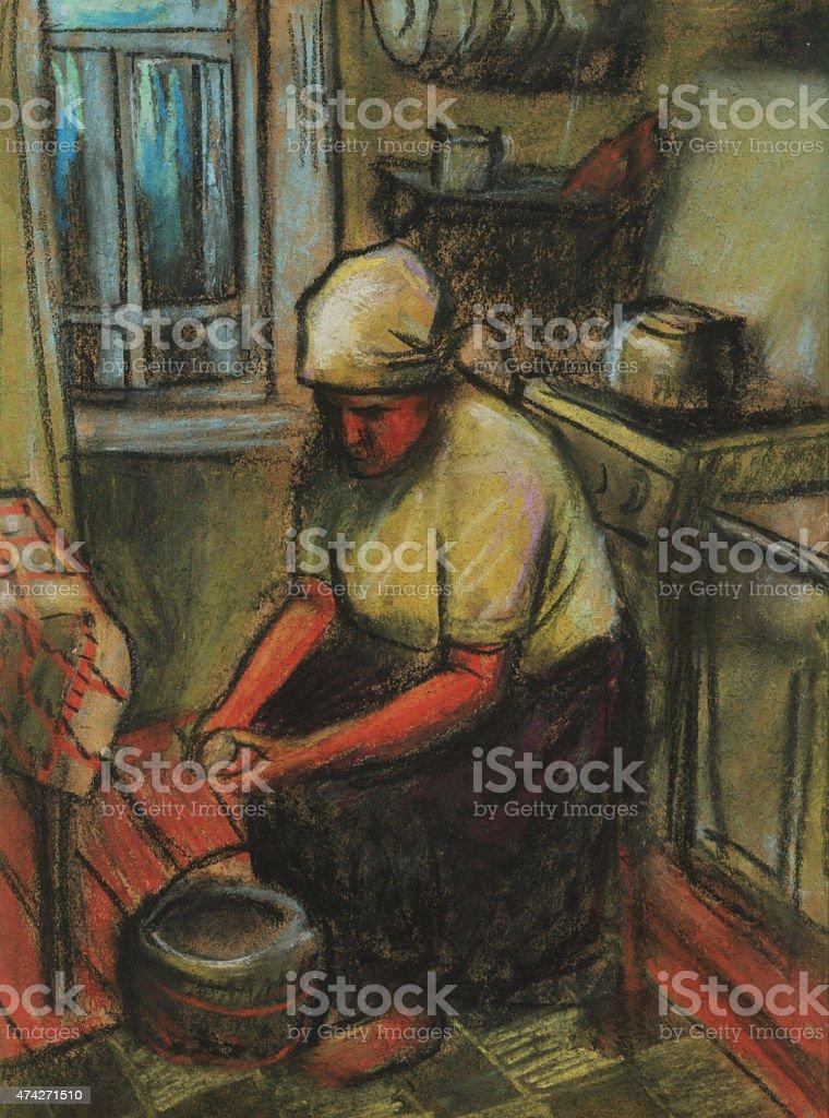 Woman preparing food in the kitchen, Pastel vector art illustration