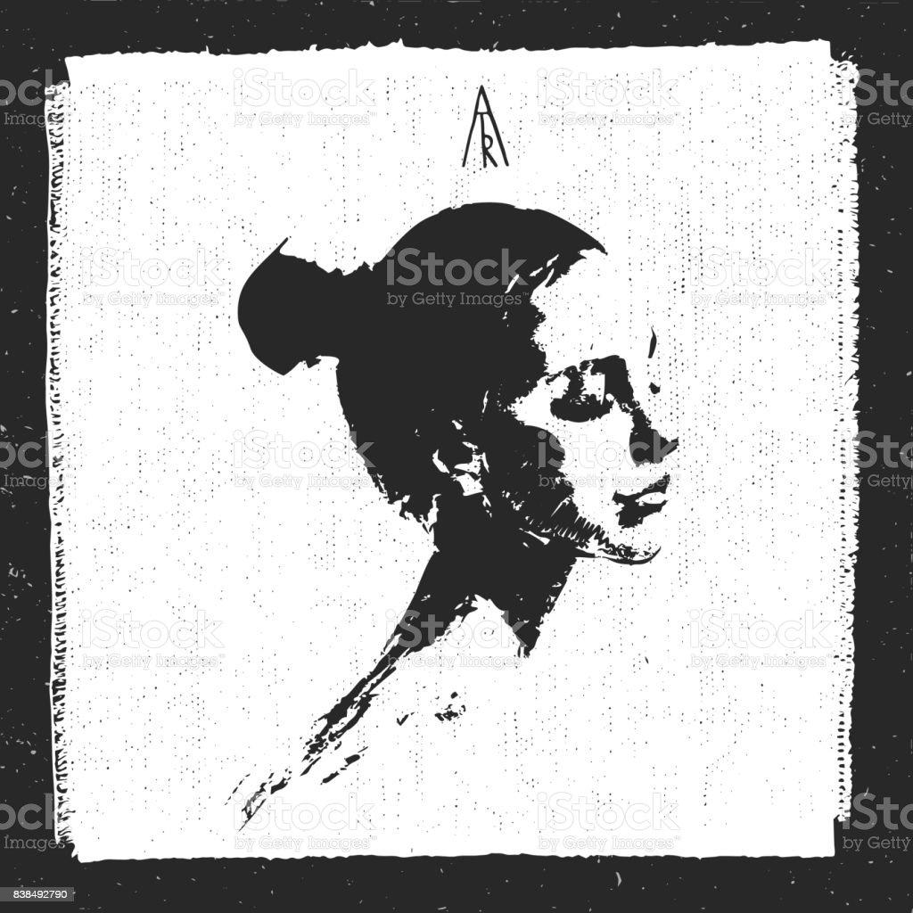 Graphique De Portrait De Profil Femme Dessin Trace Noir Et